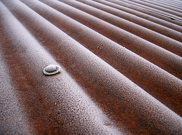 Frost on a roof in Devon, December 2009