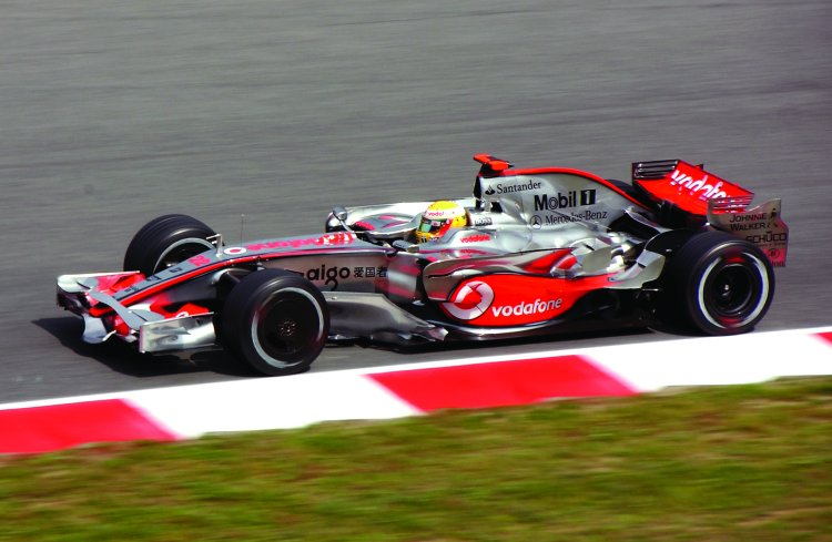 Lewis Hamilton driving in the Spanish Grand Prix, Circuit de Catalunya, Barcelona April 2008