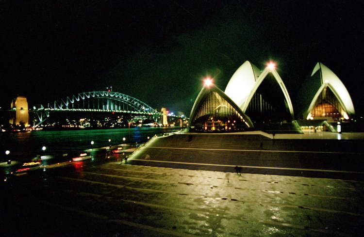 Sydney Harbour Bridge and Opera House at night January 2002